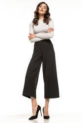 Damskie szerokie spodnie z wysokim stanem długości 78 czarne t272
