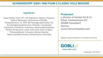 Schwarzkopf osis fab foam, pianka nadająca elastycznej objętości włosów 200ml