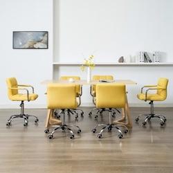 Vidaxl obrotowe krzesła do jadalni, 6 szt., żółte, tkanina