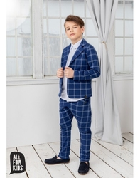 Granatowy garnitur w kratę marynarka + spodnie