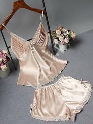 Satynowa koszulka + szorty - komplet satynowej bielizny nocnej w kolorze szampańskim