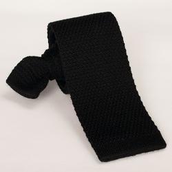 Czarny krawat wełniany z dzianiny  knit