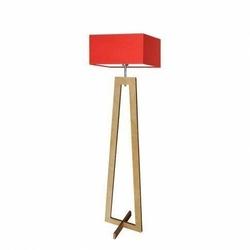 Lampa podłogowa jawa abażur czerwony stelaż dębowy - czerwony