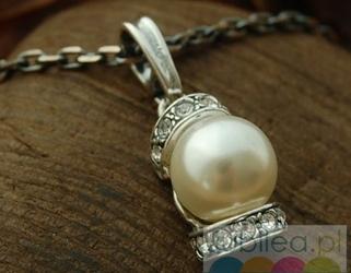 Cannes srebrny wisiorek perła i kryształy