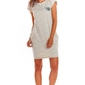 Dzianinowa beżowa mini sukienka z kieszeniami w paski