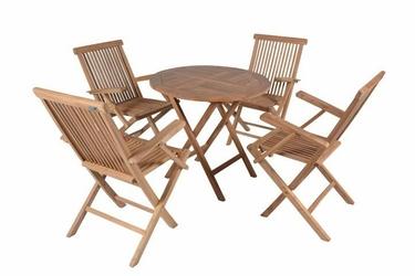 Zestaw mebli ogrodowych stół i 4 krzesła divero z drewna tekowego