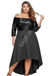 Czarna sukienka plus size z cekinową górą, krótksza z przodu 451