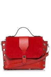 Czerwona mała torebka listonoszka z nitami