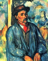Reprodukcja man in a blue smoc, paul cezanne