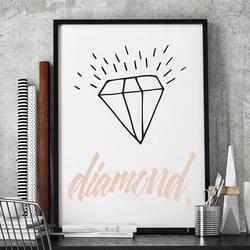 Diament - stylowy plakat w ramie , wymiary - 60cm x 90cm, kolor ramki - biały