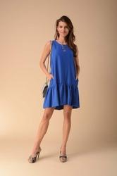 Letnia sukienka z falbanką niebieska