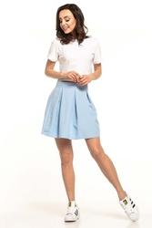 Błękitna krótka spódnica z głębokimi zakładkami
