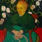 La berceuse woman rocking a cradle, vincent van gogh - plakat wymiar do wyboru: 21x29,7 cm