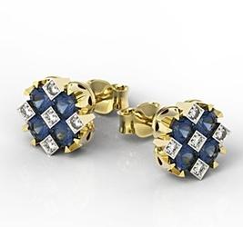 Kolczyki z żółtego złota z szafirami i diamentami jpk-56z-szt - szafir