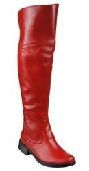 Obuwie kozaki damskie oficerki muszkieterki wysokie za kolano skóra naturalna czerwone 638 elitabut - czerwone