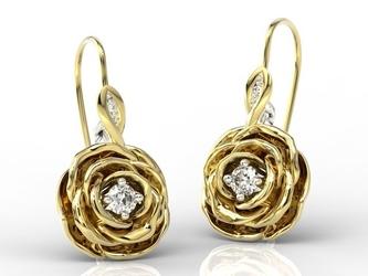 Kolczyki w kształcie róży z żółtego i białego złota z diamentami apk-95zb - żółte i białe  diament