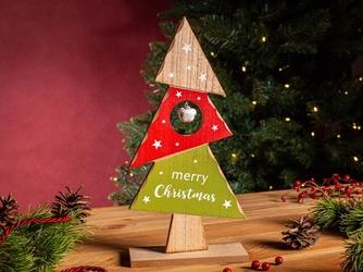 Figurka  ozdoba  dekoracja świąteczna drewniana święta boże narodzenie altom design choinka z dzwoneczkiem 13 x 5 x 26 cm