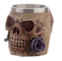 Czaszka z fioletową różą - kufel dekoracyjny