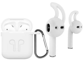 Etui do apple airpods silikonowe + nakładki earhooks biały - biały
