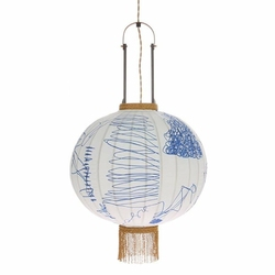 HK Living :: Lampa wisząca lampion tradycyjna M pencil - Niebieski