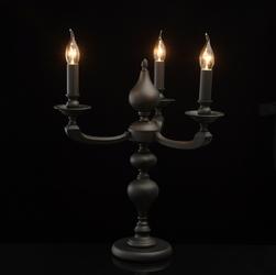Grafitowa lampa stołowa w kształcie świecznika delrey mw-light neoclassic 700031403