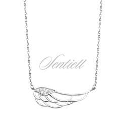 Srebrny naszyjnik pr.925 skrzydło z cyrkoniami - rodowanie