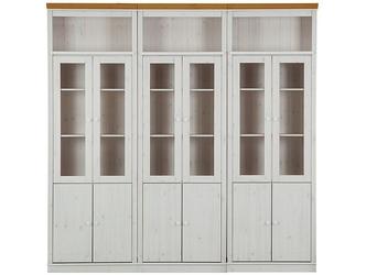 Potrójna witryna sosnowa anita biała z cokołem w kolorze naturalnym  222x34x219 cm