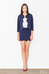 Granatowy komplet mini spódnica + krótka marynarka