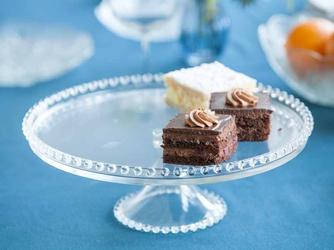 Patera na ciasto i tort  talerz szklany na nóżce huta jasło 32 cm