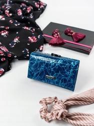 Skórzany portfel damski lorenti 55020 niebieski - niebieski