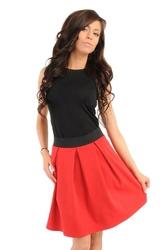 Czerwona  spódnica z kontrafałdami z czarną gumą