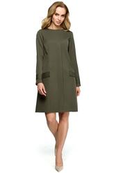 Uniwersalna gładka sukienka trapezowa z patkami khaki s117