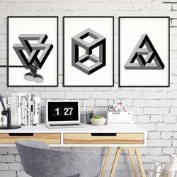 Geometry 3d - komplet trzech plakatów w ramach , wymiary - 20cm x 30cm 3 sztuki, kolor ramki - biały