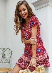 Letnia sukienka w kwiaty szmizjerka, czerwona łączka