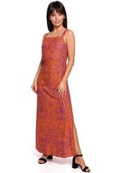 Długa sukienka w cętki na ramiączkach - pomarańczowa