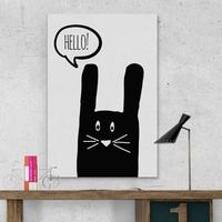 Króliczek hello - modny obraz dla dzieci , wymiary - 30cm x 40cm