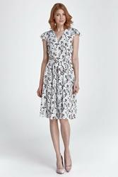 Ecru sukienka z dekoltem v w kwiaty