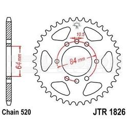 Zębatka tylna stalowa jt 1826-41, 41z, rozmiar 520 2301953 suzuki lt-f 160