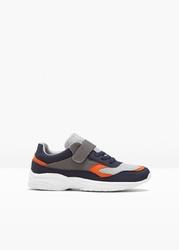 Sneakersy dziecięce bonprix szaro-ciemnoniebiesko-pomarańczowy