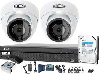2 x kamery zewnętrzne bcs-dmq2203ir3-b + rejestrator bcs-xvr0401-iv + dysk 1tb + akcesoria