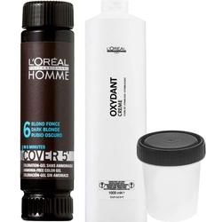 Loreal homme cover zestaw, farba dla mężczyzn, odsiwiacz 50ml + woda 6 50ml 3 ciemny brąz