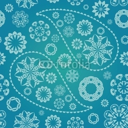 Obraz na płótnie canvas trzyczęściowy tryptyk paisley bez szwu