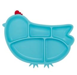Silikonowy talerzyk z przegródkami i przyssawkami innobaby, niebieska kurka