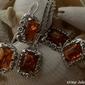 Arancza - srebrny komplet z bursztynami
