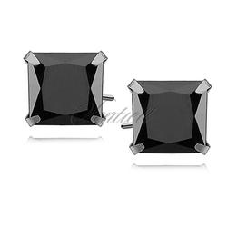 Srebrne kolczyki pr.925 cyrkonia czarna 8 x 8mm kwadratowe