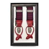 Granatowe szelki męskie do spodni uniwersalne na guziki i klipsy w czerwoną pepitkę
