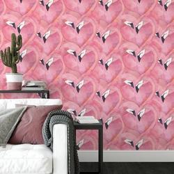 Tapeta na ścianę - flamingos crowd , rodzaj - próbka tapety 50x50cm