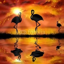 Plakat na papierze fotorealistycznym flamingo na pięknym tle zachodu słońca