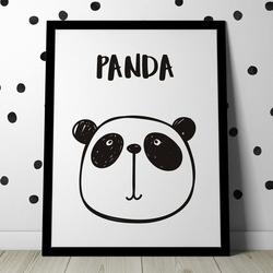 Scandi panda - plakat dla dzieci , wymiary - 18cm x 24cm, kolor ramki - czarny