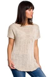 Beżowy letni sweter z krótkim rękawem z aplikacją